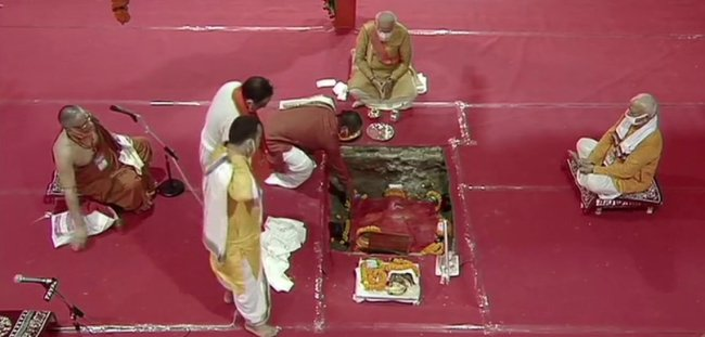 PM Modi at Bhumi Puja (5 August 2020).