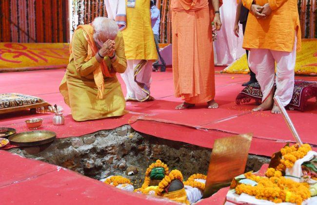 PM Modi completes Ram Mandir bhumi puja (5 August 2020).